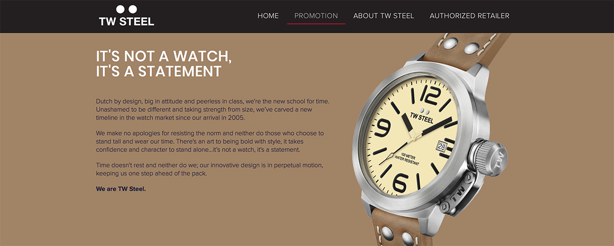 Promotion Website Design - TW Steel
